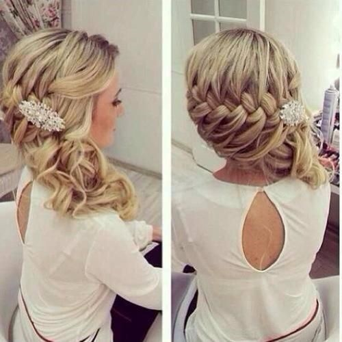 Intricate plaited bridal curly style, Hale salon